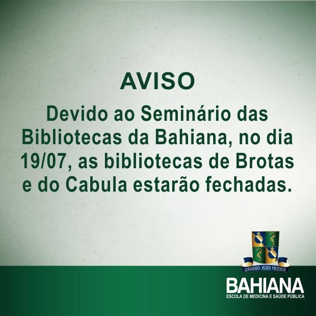 Bahiana - Aviso Seminário Bibliotecas