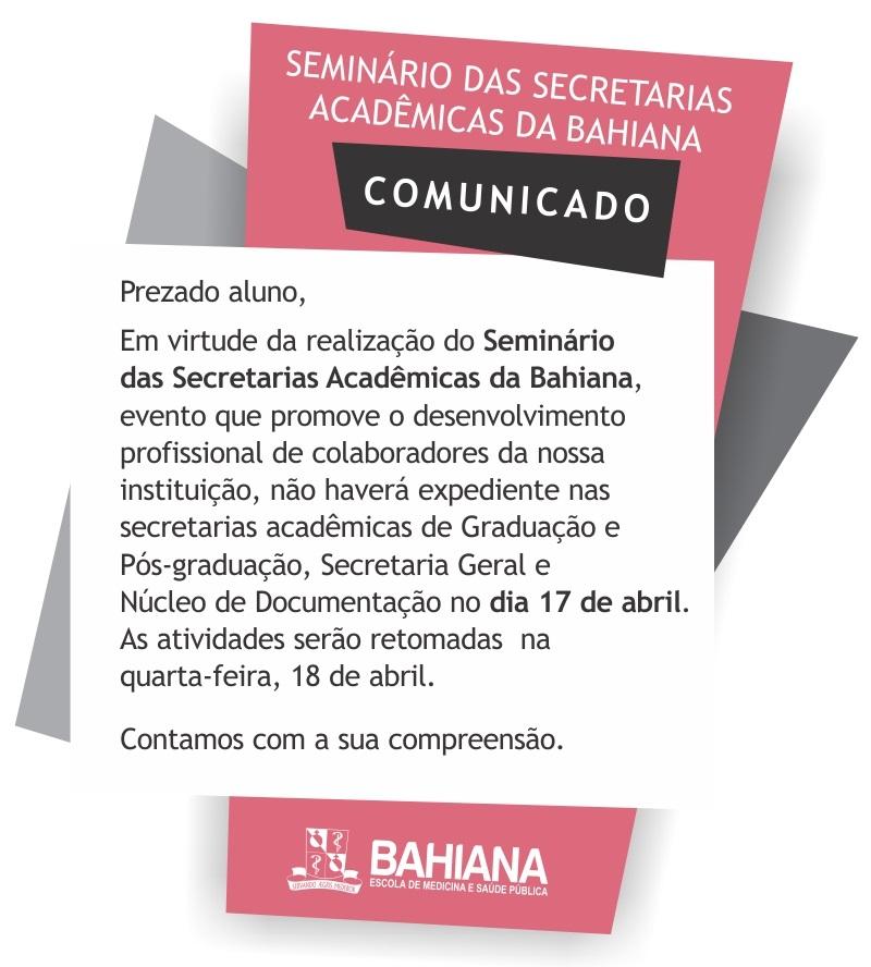 Seminário das secretarias Acadêmicas da Bahiana